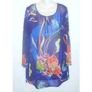 SOFT SURROUNDINGS Tunic Top Floral Sheer Chiffon